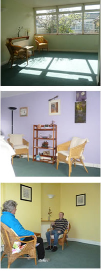 A picture of different rooms within The Healing House